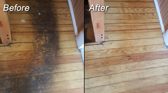 Before and after picture of wood floor cleaning